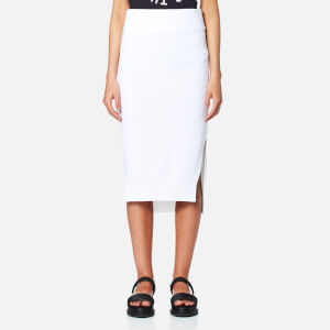 DKNY Women's Runway Midi Skirt with Side Slits and Step Hem - White