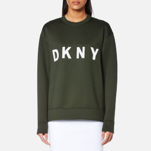 DKNY Women's Extra Long Sleeve Crew Neck Sweatshirt with Logo - Military/White
