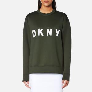 DKNY Women's Extra Long Sleeve Crew Neck Sweatshirt with Logo - Military/White