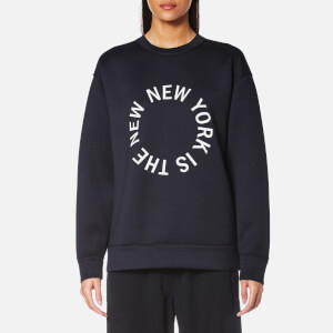 DKNY Women's Large New NY Logo Tech Jersey Sweatshirt - Classic Navy/White
