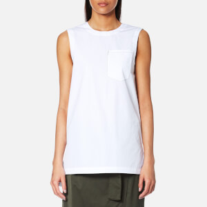 DKNY Women's Sleeveless Shirt with Step Hem and Front Pocket - White
