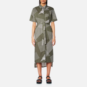 DKNY Women's Short Sleeve Button Through Dress with Self Belt and Step Hem - Military