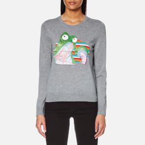 Marc Jacobs Women's Long Sleeve Frog Crew Neck Jumper - Grey Melange