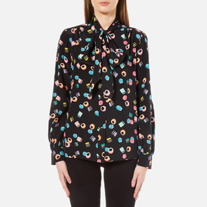 Marc Jacobs Women's Assorted Licorice Tie Neck Blouse - Black/Multi
