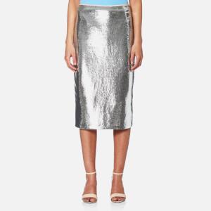 Diane von Furstenberg Women's Midi Sequin Pencil Skirt - Silver/Nectar