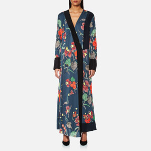 Diane von Furstenberg Women's Long Sleeve Cross Over Floor Length Dress - Ampere Indigo/Black/Alex Navy