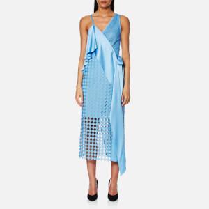 Diane von Furstenberg Women's Asymmetric Sleeveless Lace Wrap Dress - True Blue