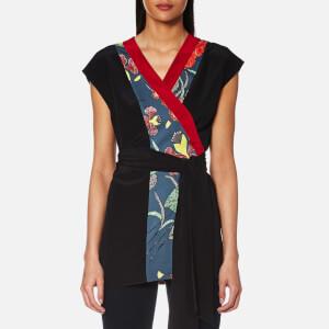 Diane von Furstenberg Women's Sleeveless Wrap Kimono Top - Ampere Indigo/Black/Red Des