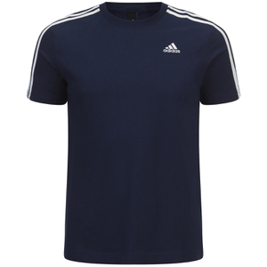 adidas Men's Essential 3 Stripe T-Shirt - Navy