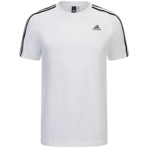 adidas Men's Essential 3 Stripe T-Shirt - White