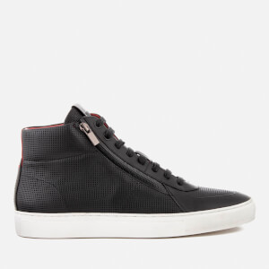 HUGO Men's Futurism Embossed Leather Double Zip Hi-Top Trainers - Black