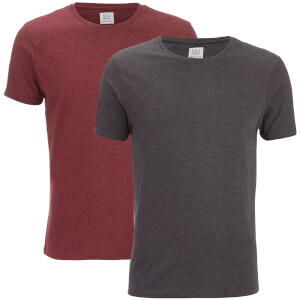 Smith & Jones Men's Purlin 2 Pack T-Shirt - Charcoal/Burgundy