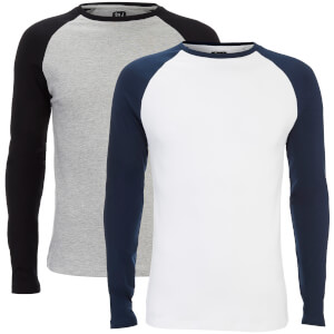 Smith & Jones Men's Hurtz 2 Pack Raglan Long Sleeve T-Shirt - Grey/Navy