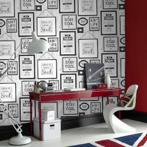 Fresco Inspire Typography Frames Grey Wallpaper