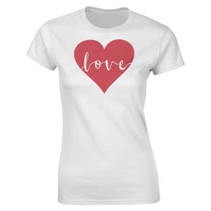 T-Shirt Femme Love Heart Valentines -Blanc