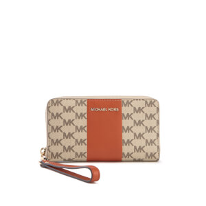 MICHAEL MICHAEL KORS Women's Centre Stripe Jet Set Large Flat Multifunction Phone Purse - Natural/Orange