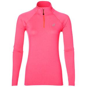 Asics Women's 1/4 Zip Long Sleeve Run Top - Diva Pink Heather