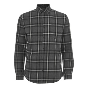 Jack & Jones Originals Men's Larson Long Sleeve Check Shirt - Dark Grey Melange