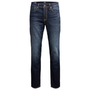 Jack & Jones Men's Originals Mike Straight Fit Jeans - Blue Dark Wash Denim