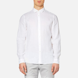 Michael Kors Men's Slim Yarn Dye Linen Solid Long Sleeve Shirt - White