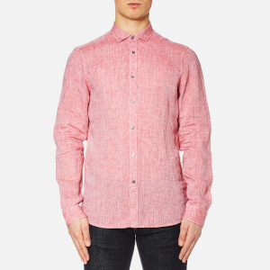 Michael Kors Men's Slim Yarn Dye Linen Solid Long Sleeve Shirt - Nantucket Red