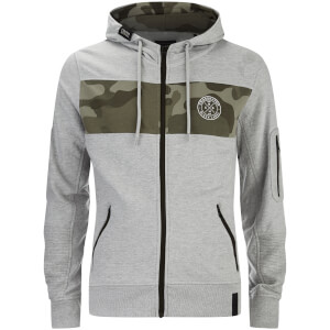 Crosshatch Men's Camden Camo Panel Zip Through Hoody - Grey Marl