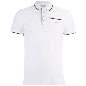Crosshatch Men's Pinback Arm Logo Polo Shirt - White
