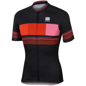 Sportful Stripe Short Sleeve Jersey - Black/Red