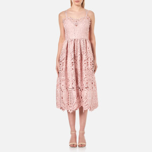 Perseverance Women's Baroque Guipure Lace Double Strap Midi Dress - Dusty Pink