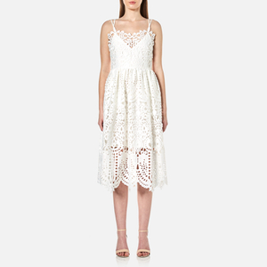 Perseverance Women's Baroque Guipure Lace Double Strap Midi Dress - Off White