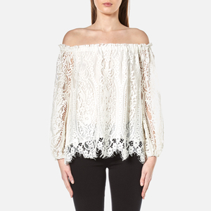 Perseverance Women's Floral Tiered Lace Off the Shoulder Top - Off White