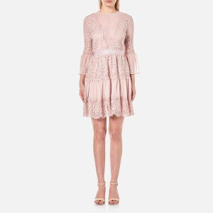 Perseverance Women's Scallop Cotton Lace Panelled Mini Dress - Dusty Pink