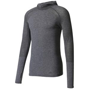 adidas Men's Primeknit Wool Hooded Long Sleeve Running Top - Utility Black
