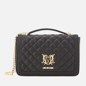 Love Moschino Women's Quilted Medium Flap Shoulder Bag - Black
