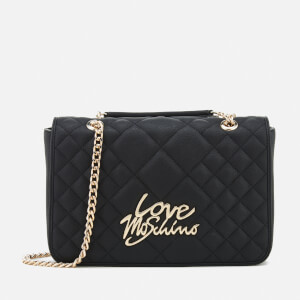 Love Moschino Women's Matt Quilted Flap Shoulder Bag - Black