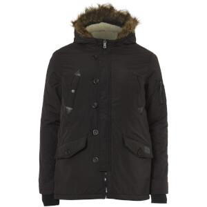 Brave Soul Men's Noel Fur Trim Parka Jacket - Black