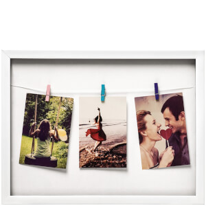 Washing Line 3 Peg Photo Frame - White