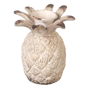 Parlane Pineapple Distressed Candlestick - White (9cm)