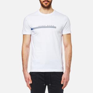 BOSS Green Men's Stripe Logo T-Shirt - White