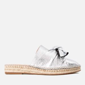 KG Kurt Geiger Women's Niamh Leather Mule Espadrille Sandals - Silver