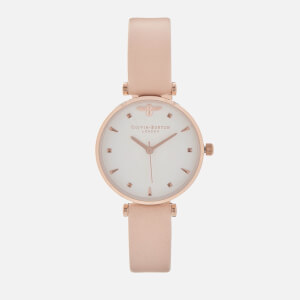 Olivia Burton Women's Queen Bee T-Bar Watch - Nude Peach/Rose Gold