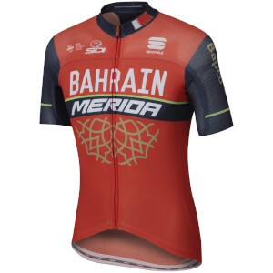 Sportful Bahrain Merida BodyFit Pro Race Short Sleeve Jersey - Red/Blue