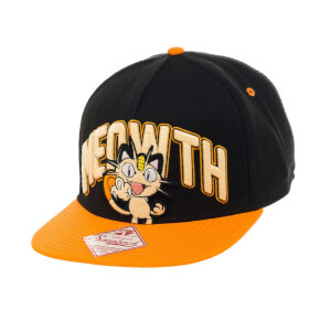 Pokémon Meowth Snapback Cap - Black/Orange