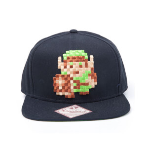 Nintendo The Legend of Zelda Pixel Link 8 Bit Snapback Cap - Black