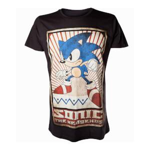 Sega Men's Sonic The Hedgehog Vintage T-Shirt - Black