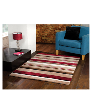 Flair Infinite Inspire Rug - Broad Stripe Choc/Red