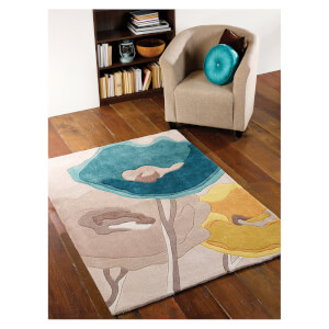 Flair Infinite Mod Rug - Art Poppy Flowers Teal/Yellow