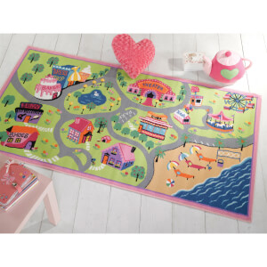 Flair Matrix Kiddy Rug - Girls World Multi