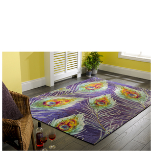 Flair New Jersey Rug - Print Peacock Chenille Multi