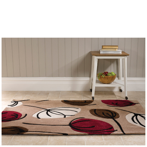 Flair Infinite Inspire Rug - Fifties Floral Choc/Red (80X150)
